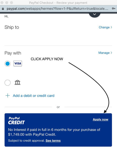 PayPal Financing Click Apply Now