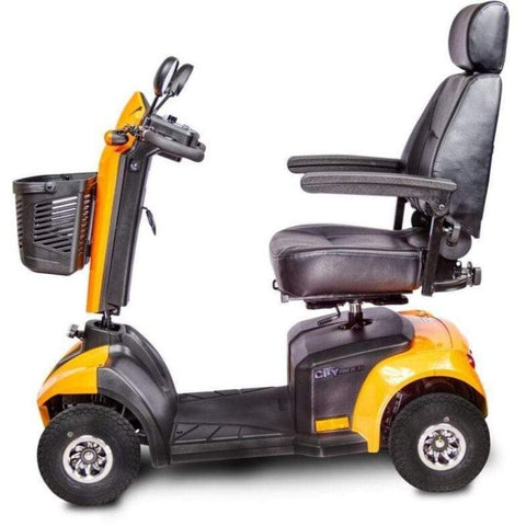 EV Rider CityRider Compact 4-Wheel Full-Suspension Mobility Scooter M4JP6 Left Side View In Yellow
