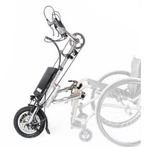 Rio Mobility eDragonfly 2.0 Electric Assisted Handcycle Shown Detached From Manual Wheelchair