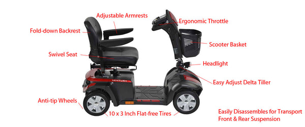 Ventura Electric Scooter 4-Wheel Features