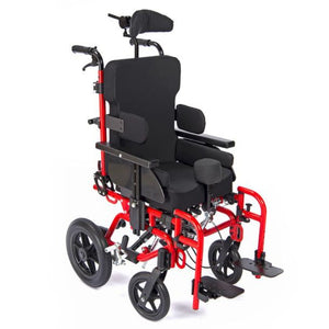 Red Drive Medical Kanga Tilt-In-Space Manual Wheelcair with Extra Thick Seat Cushions and Ergonomic Headrest
