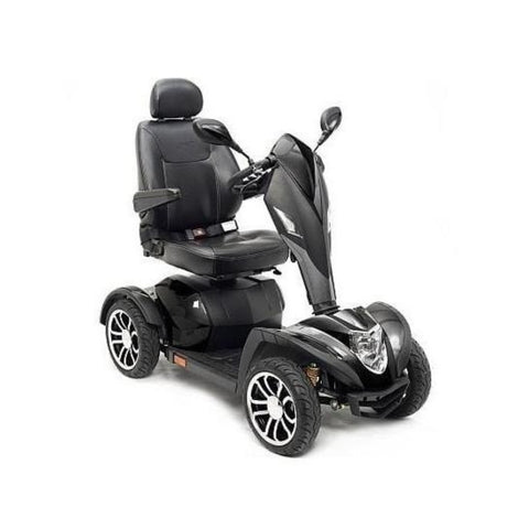 Drive Medical Cobra GT4 Heavy Duty Power Mobility Scooter COBRAGT22CS Right Side View With Large Front Lights And Side Caution Light