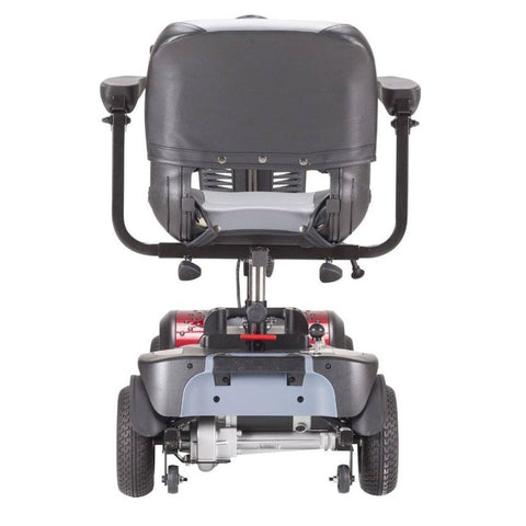 Image of Drive Medical Phoenix HD 4 Wheel Mobility Scooter PHOENIXHD4 Rear View Of Comfortable Seat And Anti-Tip Wheels Behind Thick Rubber Tires