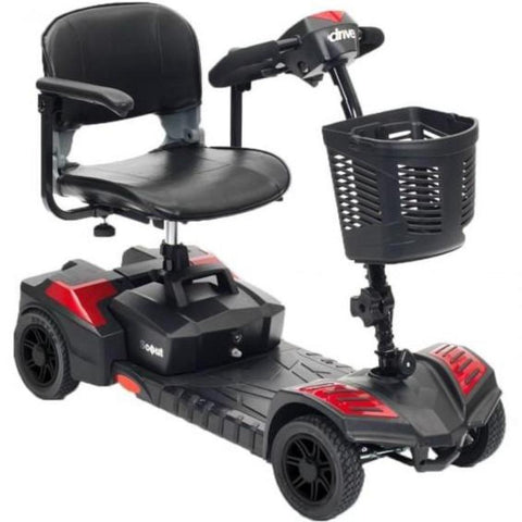 Drive Medical Spitfire Scout 4 Wheel Compact Travel Scooter SFSCOUT4 With Folding Armrests And Large Front Basket