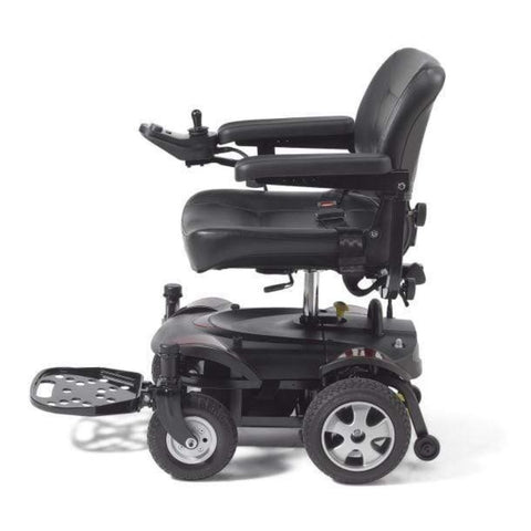 Drive Medical Titan LTE Portable Power Wheelchair TITANLTE-18FS Left Side View With Anti-Tip Wheels To The Rear