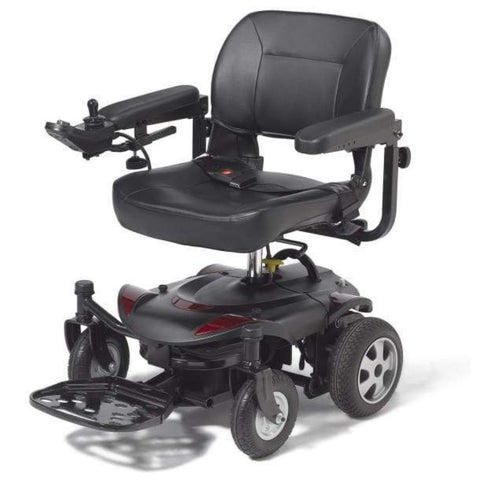 Image of Drive Medical Titan LTE Portable Power Wheelchair TITANLTE-18FS With Joystick Attached To Right Armrest With Seatbelt On Seat