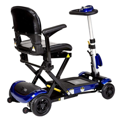 Image of Drive Medical ZooMe Auto-Flex Electric Folding Mobility Scooter FLEX-AUTO Right Side View With Anti-Tip Wheels Behind Black Rear Tires