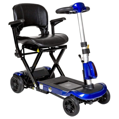 Image of Drive Medical ZooMe Auto-Flex Electric Folding Mobility Scooter FLEX-AUTO In Blue With Lightweight Black Tires