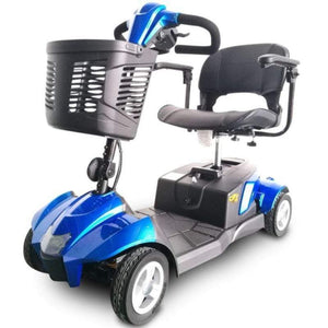 EV Rider CityCruzer Portable 4-Wheel Mobility Scooter In Blue With Large Front Basket