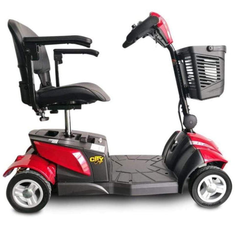 Image of EV Rider CityCruzer Portable 4-Wheel Mobility Scooter In Red With Folding Armrests