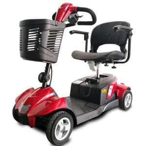 EV Rider CityCruzer Portable 4-Wheel Mobility Scooter In Red With Large Front Basket