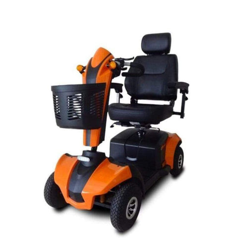 Image of EV Rider CityRider Compact 4-Wheel Full-Suspension Mobility Scooter M4JP6 In Sunset Orange With Front Basket