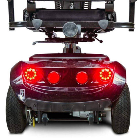 Image of EV Rider CityRider Compact 4-Wheel Full-Suspension Mobility Scooter M4JP6 Rear Brake Lights And Anti-Tip Wheels Behind Large Rubber Tires