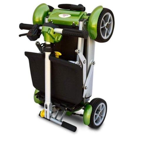 EV Rider Gypsy Compact 4-Wheel Super Lightweight Mobility Scooter In Green Folded For Travel