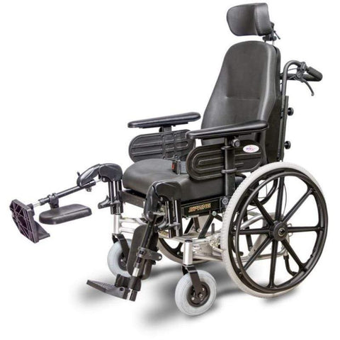 EV Rider Heartway Spring Manual Wheelchair with Rehab Reclining Seat HW1 With Right Leg Raised