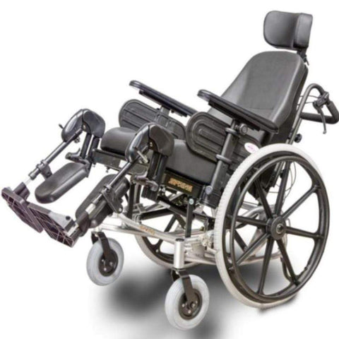 EV Rider Heartway Spring Manual Wheelchair with Rehab Reclining Seat HW1 Seat And Legs Raised