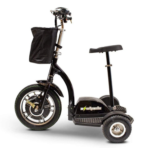 Image of EWheels EW-18 Stand-N-Ride 3 Wheel Mobility Scooter In Black Left Side View