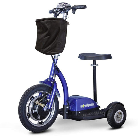 Image of EWheels EW-18 Stand-N-Ride 3 Wheel Mobility Scooter In Blue With Key In Ignition