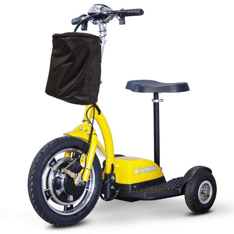Image of EWheels EW-18 Stand-N-Ride 3 Wheel Mobility Scooter In Yellow With Front Basket