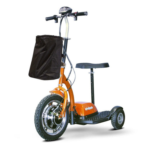 Image of EWheels EW-18 Stand-N-Ride 3 Wheel Mobility Scooter In Orange With Large Front Tire And Front Basket