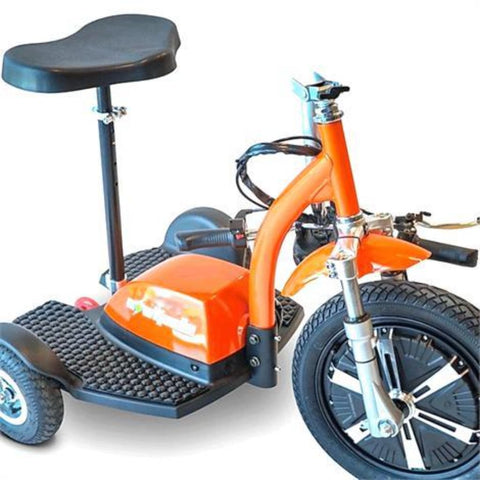EWheels EW-18 TURBO 3-Wheel Scooter With Tiller Folded Down For Easy Travel