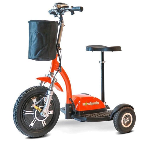 EWheels EW-18 TURBO 3-Wheel Scooter In Orange With Large Front Basket And Large Front-Powered Wheel