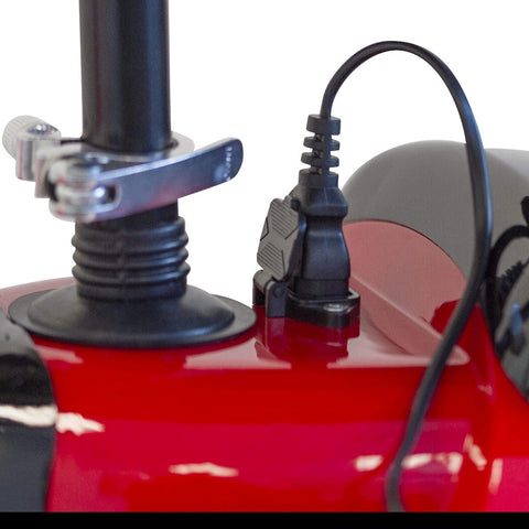 Image of EWheels EW-19 Sporty Mobility Scooter Charger Port Plugged In Near Seat Post