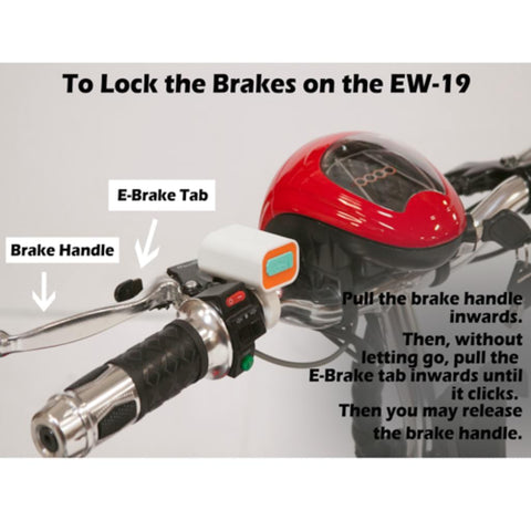 Image of EWheels EW-19 Sporty Mobility Scooter Hand Brake Instructions