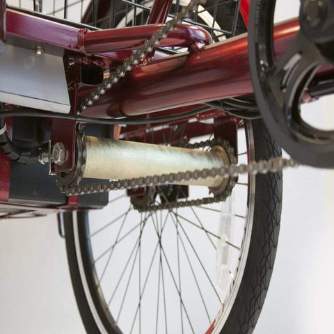 Image of EWheels EW-29 Electric Tricycle for Adults Underside View Of Tricycle Chain