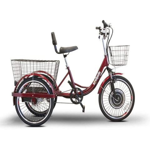 EWheels EW-29 Electric Tricycle for Adults Right Side View Of Large Rear Tires And Key In Ignition Port
