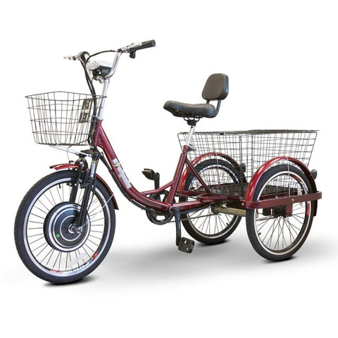 Image of EWheels EW-29 Electric Tricycle for Adults With Large Rear Basket And Front Basket