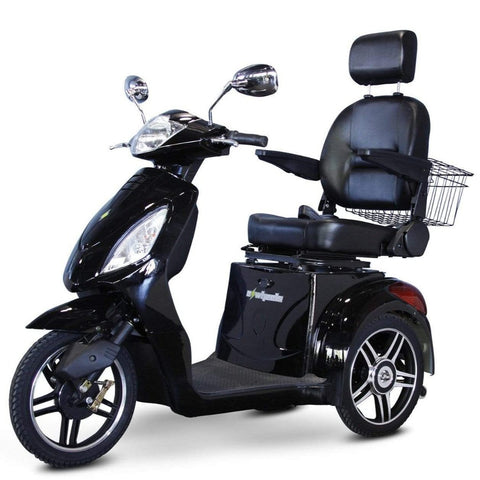 Image of EWheels EW-36 3 Wheel Mobility Scooter With Large Captain's Seat And Rearview Mirrors In Black