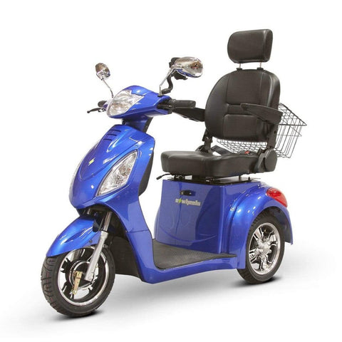 Image of EWheels EW-36 3 Wheel Mobility Scooter With Large Captain's Seat And Rearview Mirrors In Blue