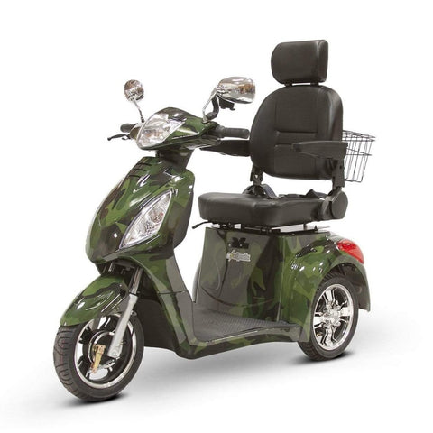 Image of EWheels EW-36 3 Wheel Mobility Scooter With Large Captain's Seat And Rearview Mirrors In Camo