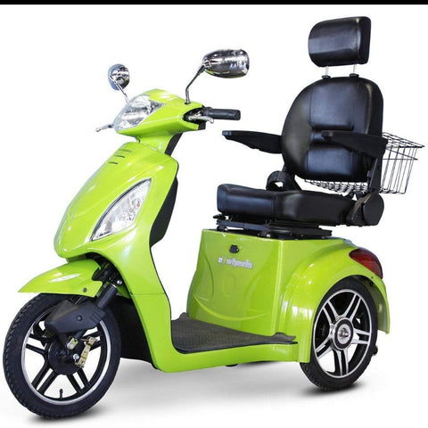 Image of EWheels EW-36 3 Wheel Mobility Scooter With Large Captain's Seat And Rearview Mirrors In Green