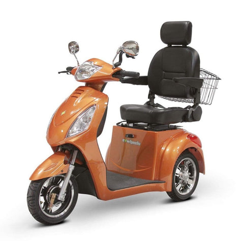 Image of EWheels EW-36 3 Wheel Mobility Scooter With Large Captain's Seat And Rearview Mirrors In Orange