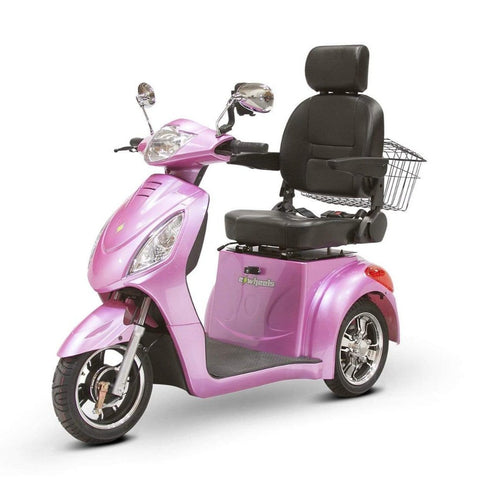 Image of EWheels EW-36 3 Wheel Mobility Scooter With Large Captain's Seat And Rearview Mirrors In Magenta