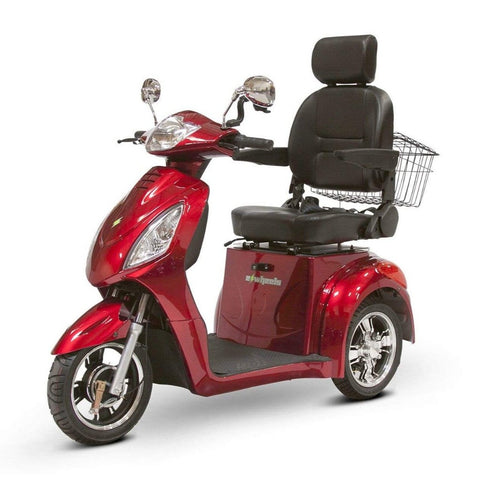 Image of EWheels EW-36 3 Wheel Mobility Scooter With Large Captain's Seat And Rearview Mirrors In Red