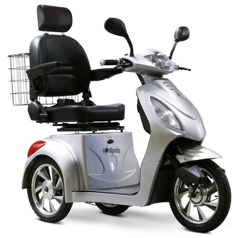 EWheels EW-36 3 Wheel Mobility Scooter With Large Captain's Seat And Rearview Mirrors In Silver