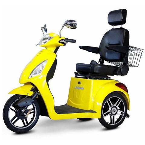 Image of EWheels EW-36 3 Wheel Mobility Scooter With Large Captain's Seat And Rearview Mirrors In Yellow