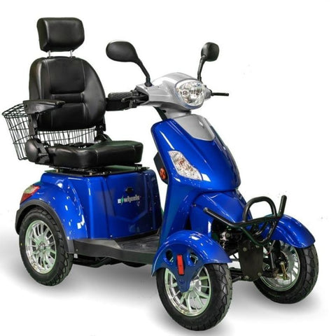 EWheels EW-46 Electric 4-Wheel Mobility Scooter In Blue With Large Captain's Seat And Front Lights
