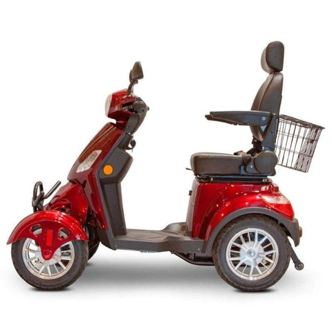 Image of EWheels EW-46 Electric 4-Wheel Mobility Scooter Left Side View With Anti-Tip Wheels Behind Large Rubber Tires