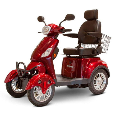 Image of EWheels EW-46 Electric 4-Wheel Mobility Scooter With Elevated Captain's Seat And Folding Armrests