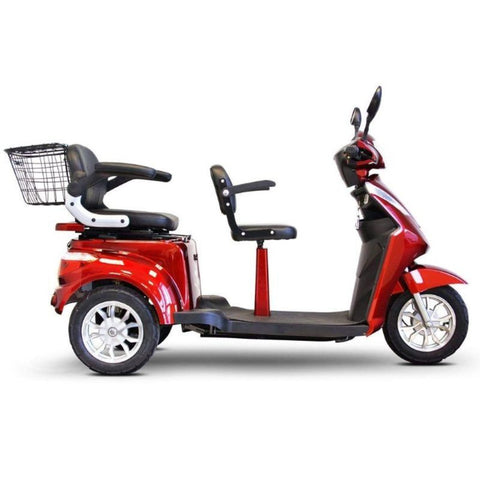 EWheels EW-66 2-Passenger Heavy-Duty Bariatric Scooter Right Side View Of Driver's Seat And Passenger Seat