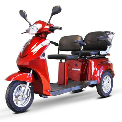EWheels EW-66 2-Passenger Heavy-Duty Bariatric Scooter With Two Seats And Large Rearview Mirrors
