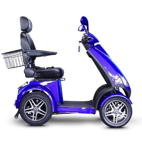 EWheels EW-72 Heavy Duty 4-Wheel Mobility Scooter In Blue With Key Inserted Into Ignition Port And Another Key Inserted Into Rear Storage Box