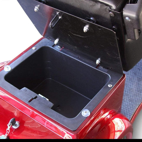 Image of EWheels EW-72 Heavy Duty 4-Wheel Mobility Scooter Large Lockable Storage Box With Key Shown