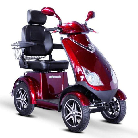 Image of EWheels EW-72 Heavy Duty 4-Wheel Mobility Scooter Right Side View Of Large Front Lights And High Clearance Tires