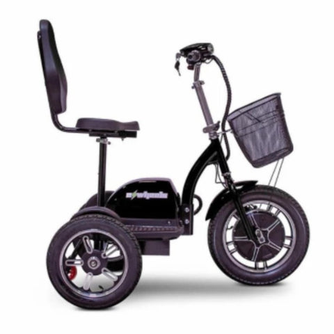 EWheels EW-Big Wheels 3-Wheel Electric Scooter In Black With Keys In Ignition