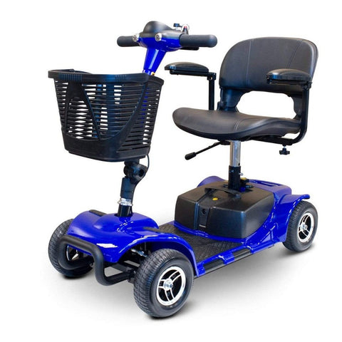 Image of EWheels EW-M34 Portable 4 Wheel Travel Mobility Scooter In Blue With Battery Box Underneath Seat Post